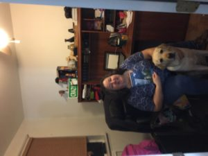 Ann and yellow lab guide dog Bailey