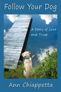 Follow Your Dog book cover yellow lab on rock  with blue skies above and blue water beside dog reflecting dog in water.