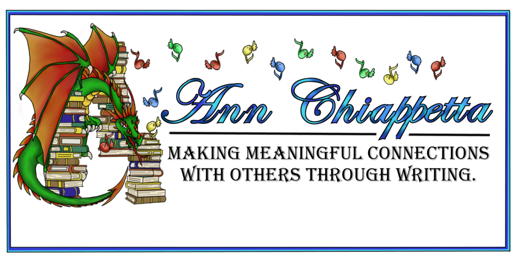 photo description of Ann's personal logo of green dragon floating amid books and musical notes.